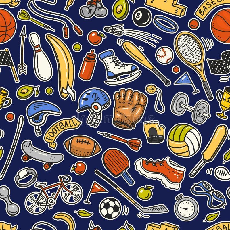 Configuration sans joint de sport Les icônes gribouillent le style Équipement pour la forme physique et la formation Symboles de  illustration de vecteur