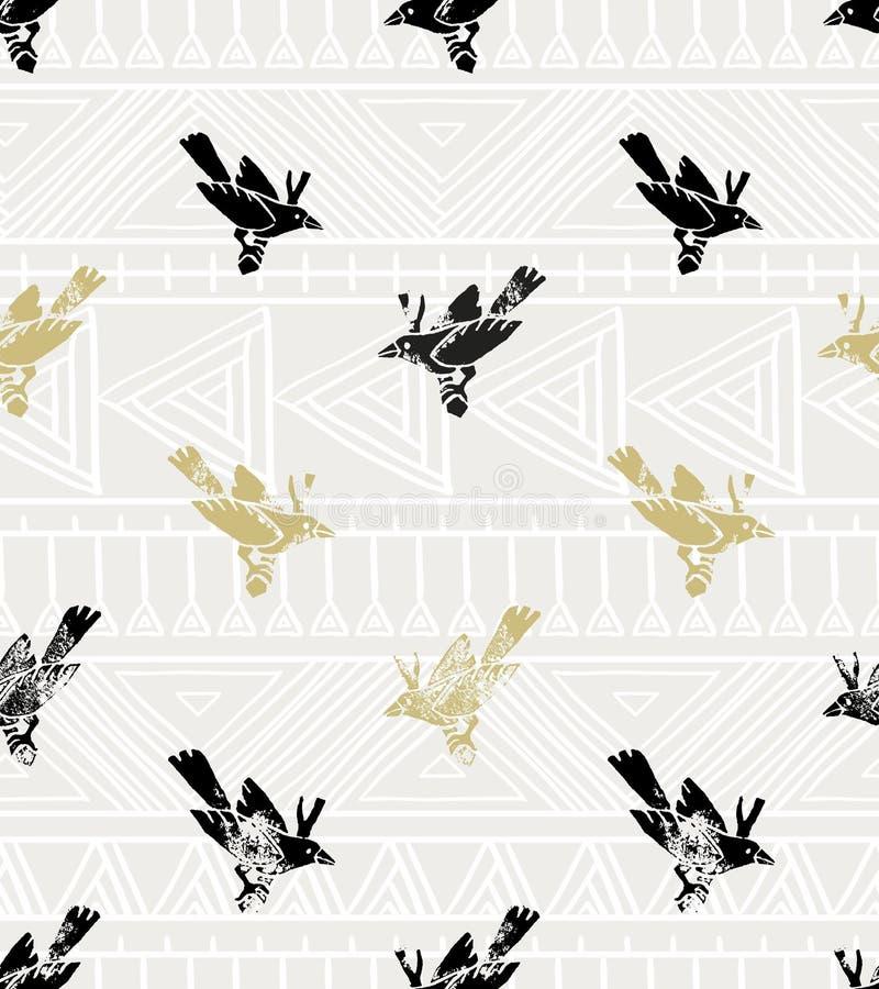Configuration sans joint de vecteur de cru style de linocut avec les oiseaux et l'ornement géométrique illustration stock