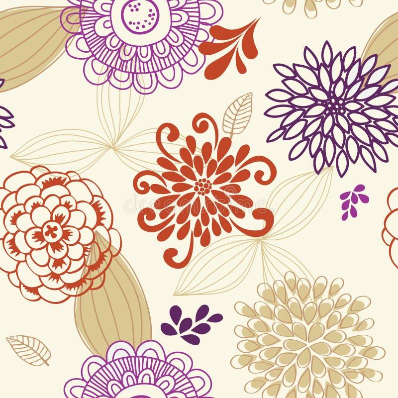 Configuration sans joint de vecteur des fleurs et des lames illustration stock