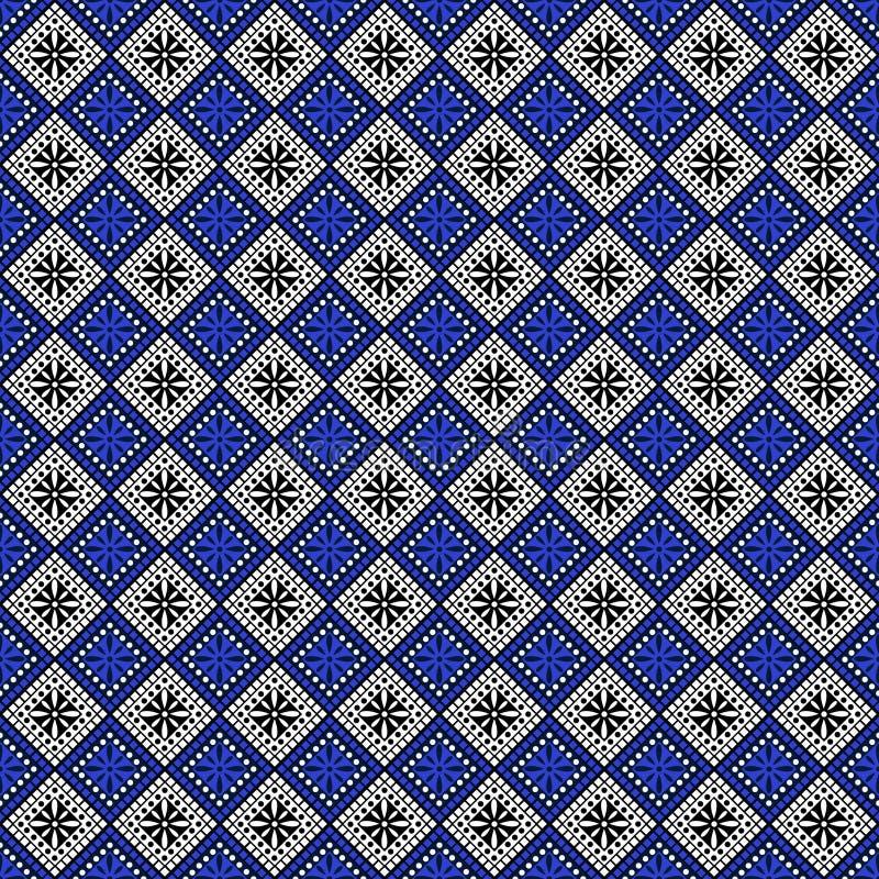Configuration sans joint de vecteur Fond abstrait géométrique symétrique avec des places dans des couleurs bleues et noires et bl illustration stock