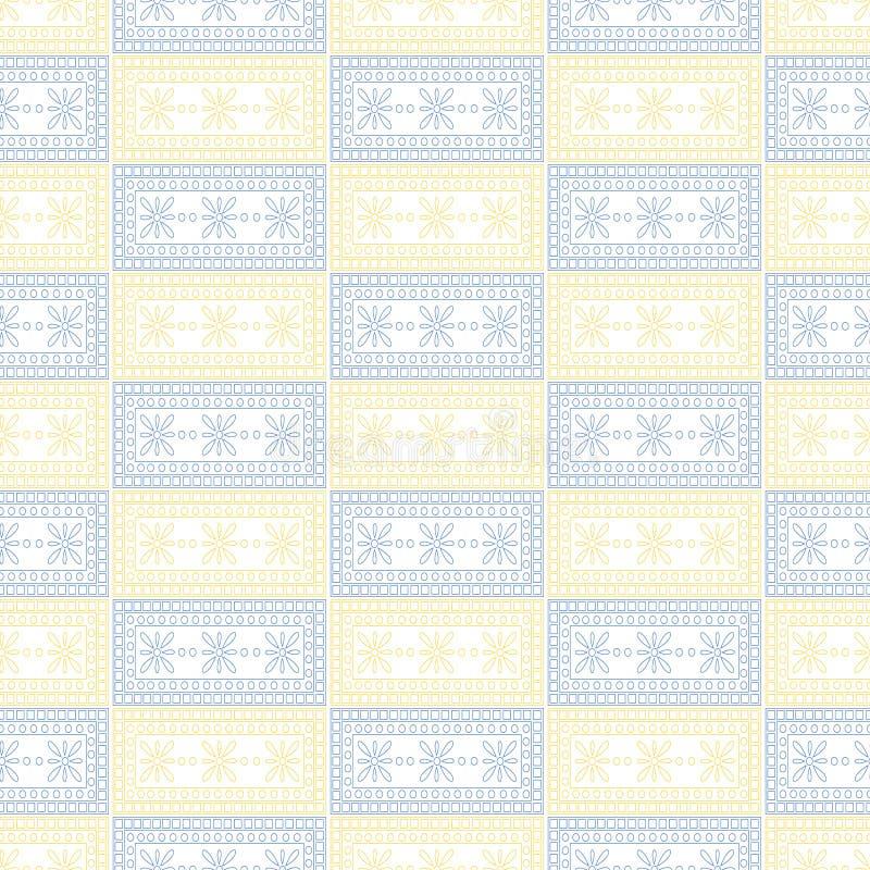 Configuration sans joint de vecteur Fond géométrique symétrique avec les places bleues et jaunes sur le contexte blanc Ornement d illustration stock