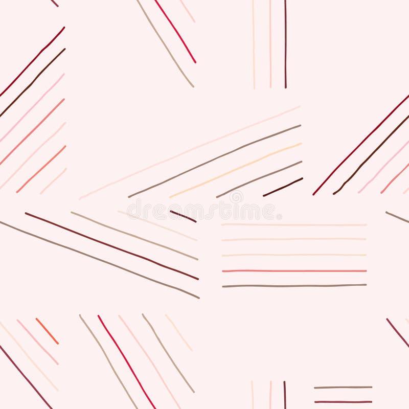 Configuration sans joint de vecteur Fond tiré par la main géométrique beige avec des lignes Copie pour le papier peint décoratif, illustration libre de droits