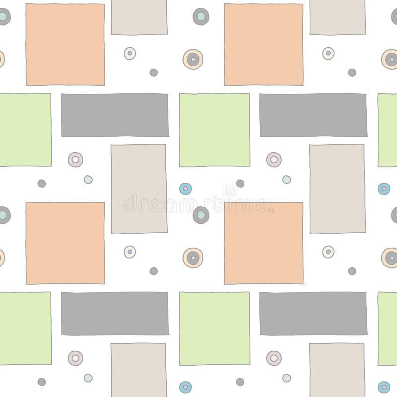 Configuration sans joint de vecteur fond tiré par la main géométrique coloré avec des rectangles, places, points Copie pour le pa illustration stock