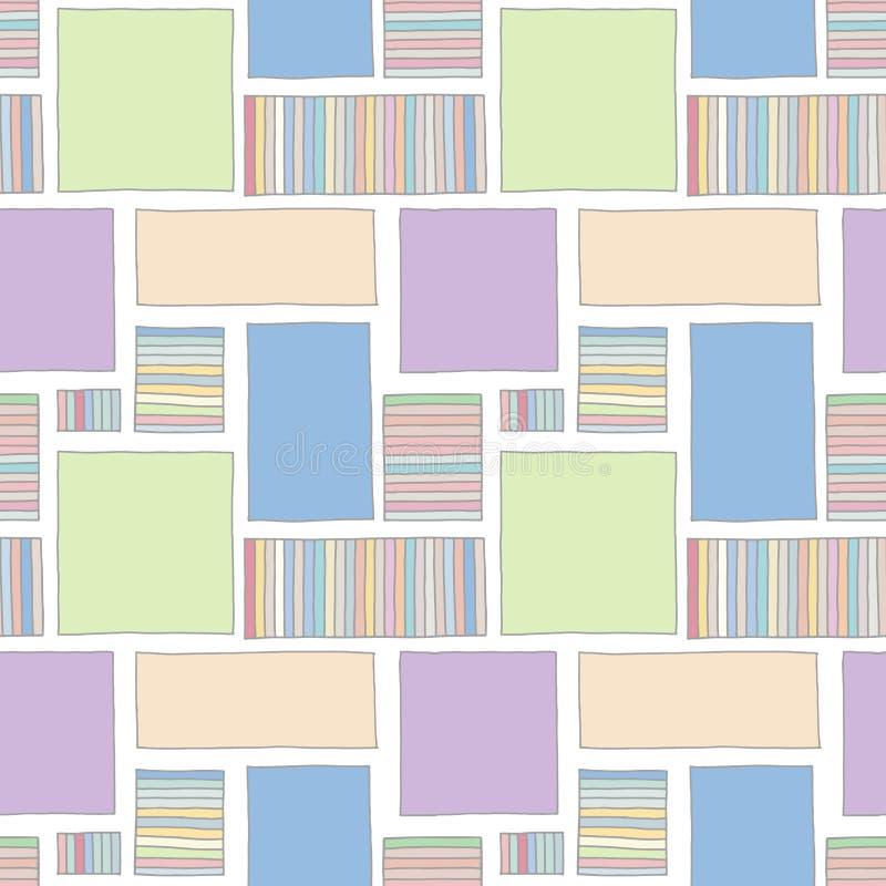 Configuration sans joint de vecteur fond tiré par la main géométrique coloré avec des rectangles, places, points Copie pour le pa illustration libre de droits