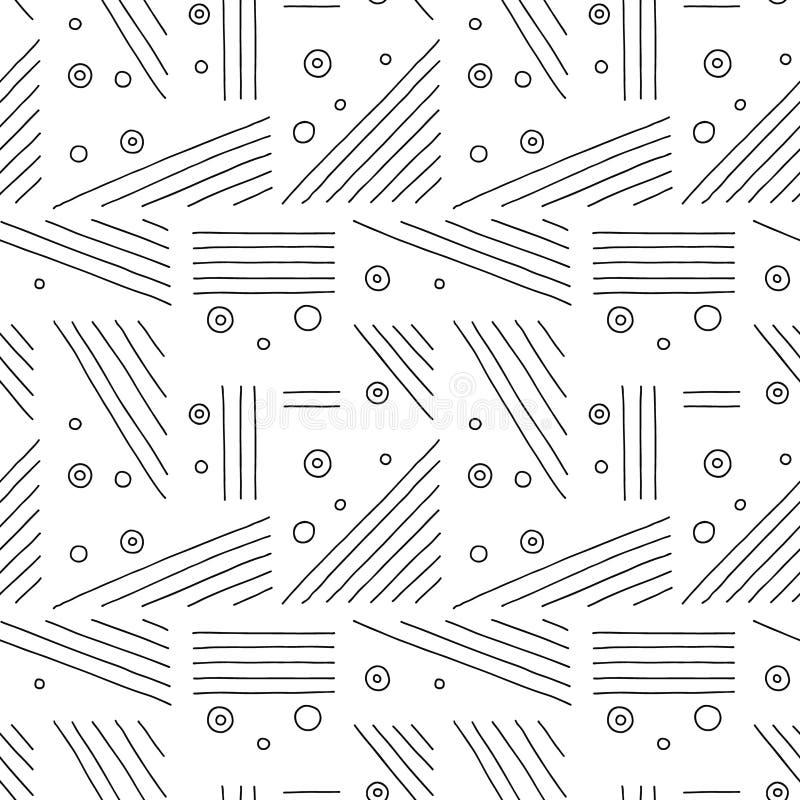 Configuration sans joint de vecteur Fond tiré par la main géométrique noir et blanc avec des lignes, points Copie pour le papier  illustration de vecteur