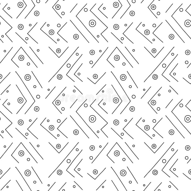 Configuration sans joint de vecteur Fond tiré par la main géométrique noir et blanc avec des lignes, points Copie pour le papier  illustration libre de droits