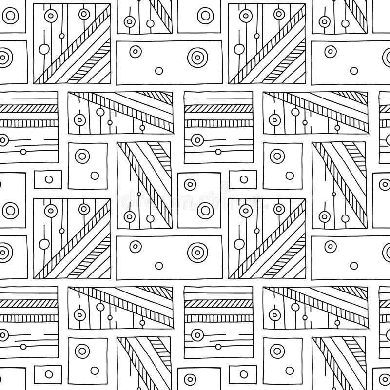 Configuration sans joint de vecteur Fond tiré par la main géométrique noir et blanc avec des rectangles, places, points Copie pou illustration stock