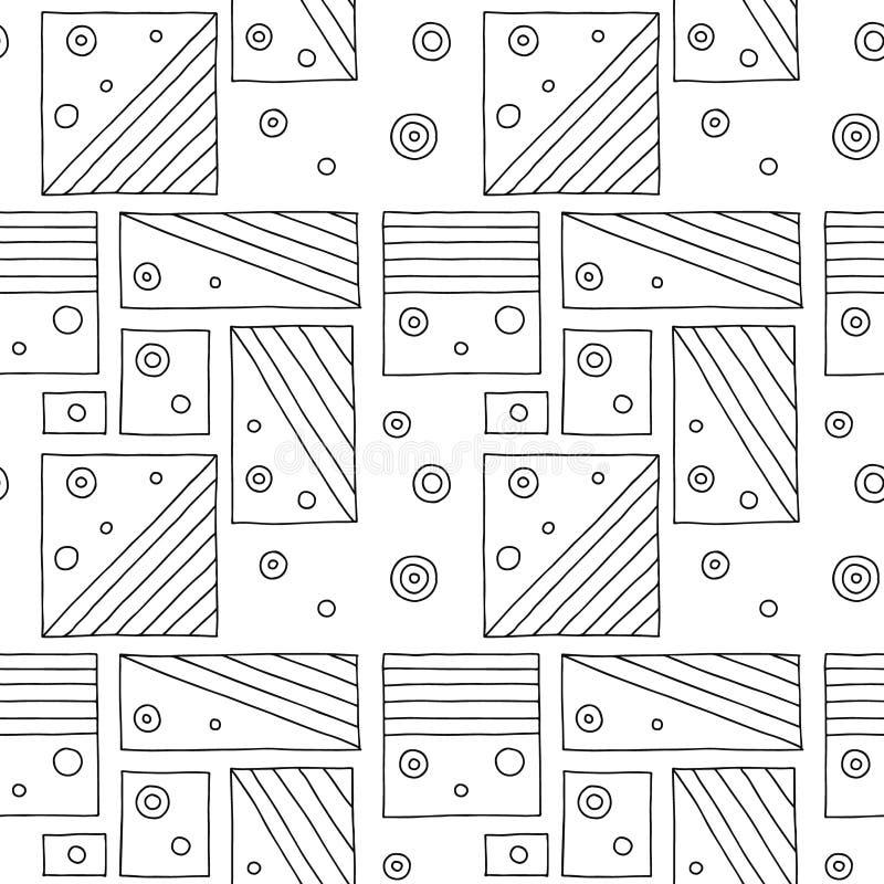 Configuration sans joint de vecteur Fond tiré par la main géométrique noir et blanc avec des rectangles, places, points Copie pou illustration de vecteur