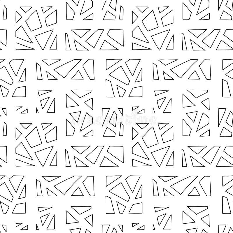 Configuration sans joint de vecteur Fond tiré par la main géométrique noir et blanc avec des rectangles, places, triangles Copie  illustration libre de droits