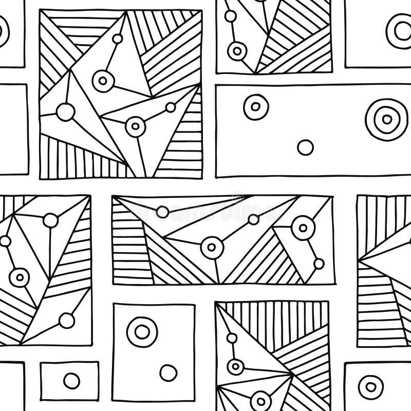 Configuration sans joint de vecteur Fond tiré par la main géométrique noir et blanc avec des rectangles, places, triangles, point illustration stock