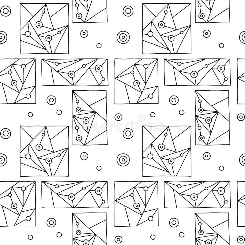 Configuration sans joint de vecteur Fond tiré par la main géométrique noir et blanc avec des rectangles, places, triangles, point illustration de vecteur