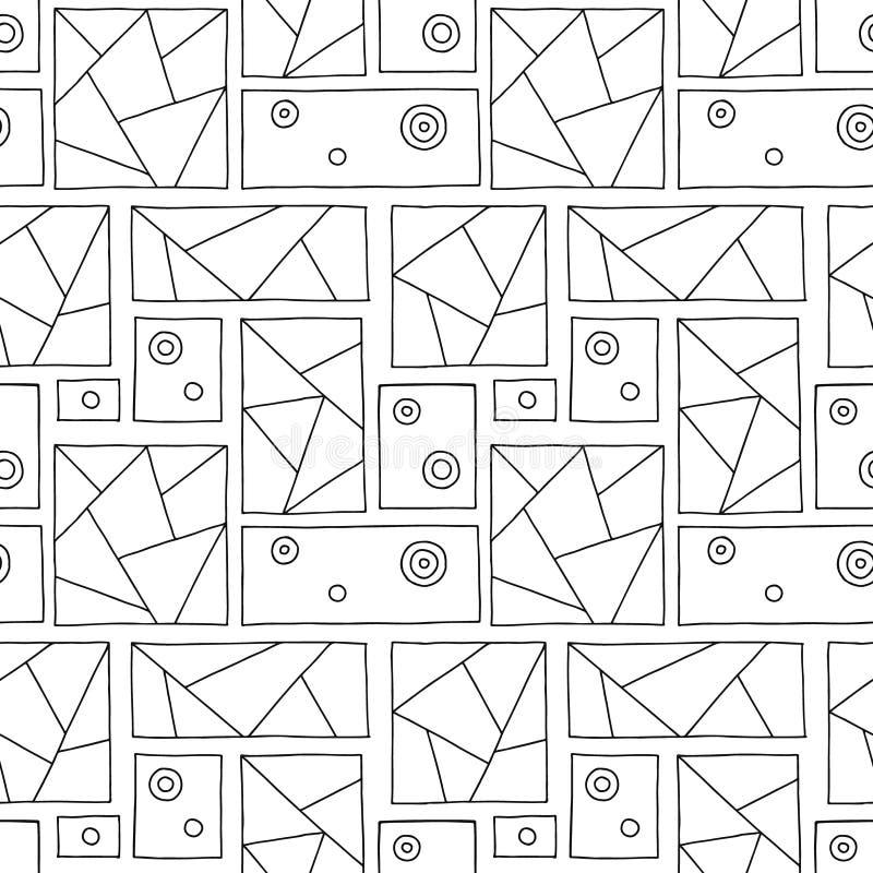 Configuration sans joint de vecteur Fond tiré par la main géométrique triangulaire noir et blanc avec des rectangles, places, poi illustration stock