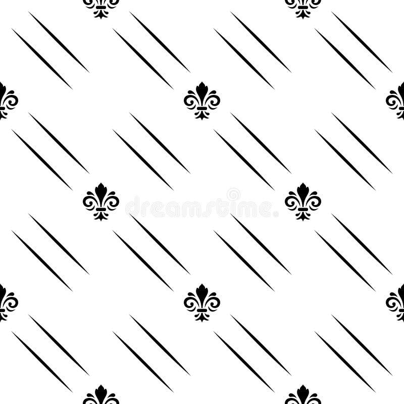Configuration sans joint de vecteur Ornement noir et blanc géométrique moderne avec les lignes diagonales et les lis royaux illustration stock
