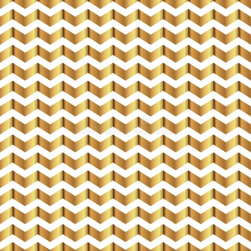 Configuration sans joint de zigzag Calibre brillant d'or Texture géométrique abstraite Bandes d'or Rétro décoration de vintage Te illustration de vecteur