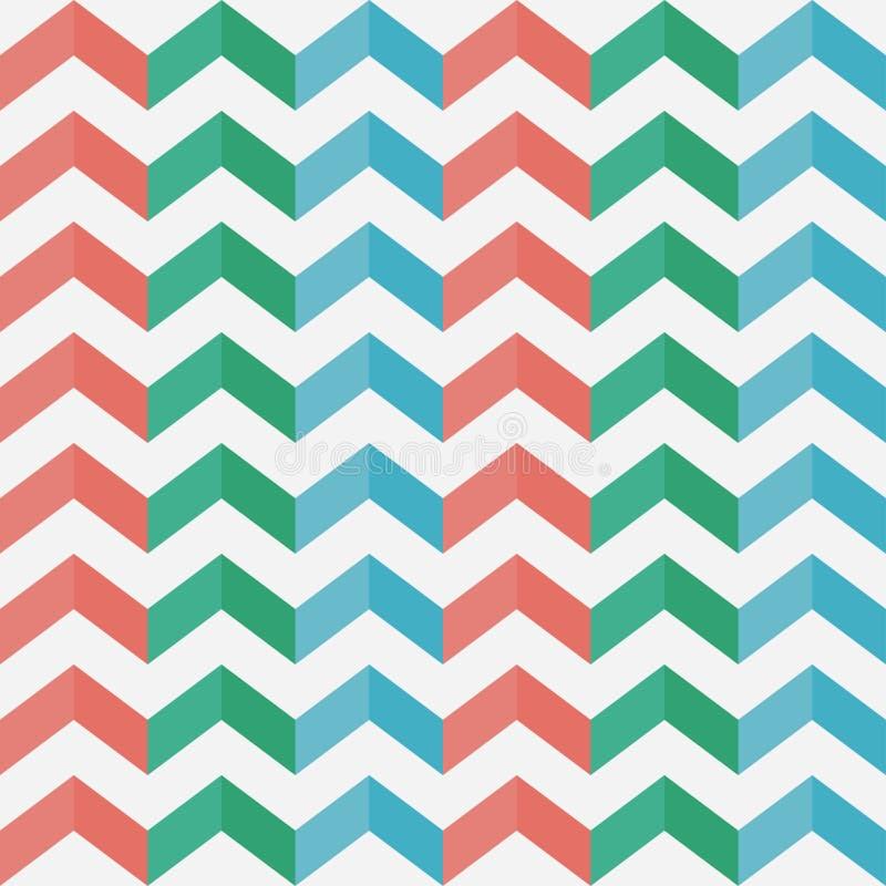 Configuration sans joint de zigzag chevron Rayures verticales multicolores avec l'ombre illustration de vecteur