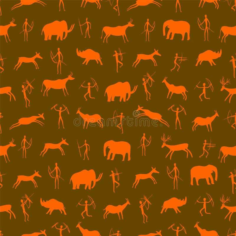 Configuration sans joint Dessin antique de roche avec les personnes primitives et les animaux préhistoriques L'ère paléolithique illustration stock