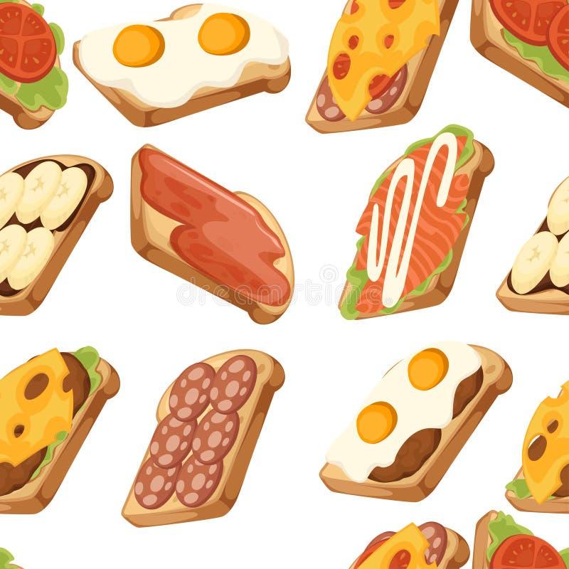 Configuration sans joint Diverse collection d'ic?ne de viande et de sandwichs v?g?taux Une seule pi?ce de pain Petit d?jeuner sav illustration stock