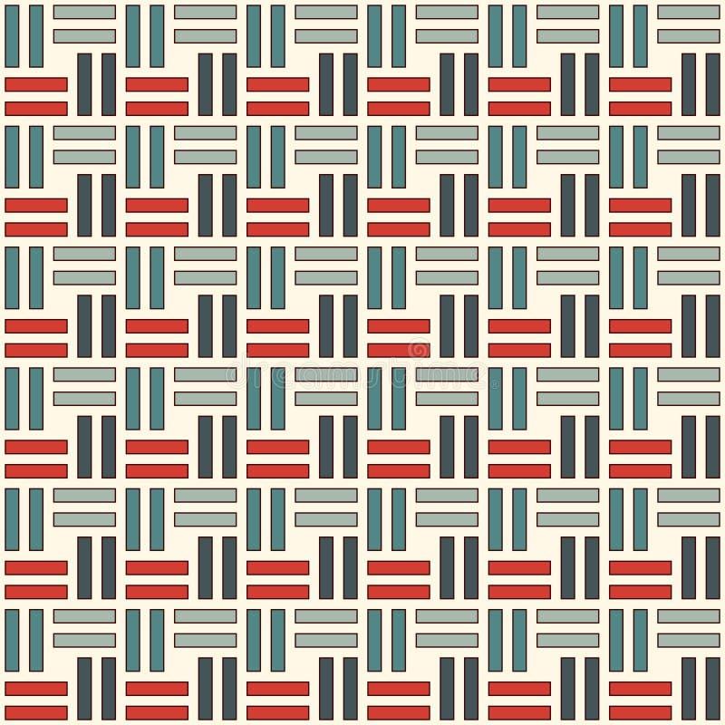 Configuration sans joint en osier Motif d'armure de panier Fond abstrait géométrique de couleurs en pastel avec les rayures de re illustration de vecteur