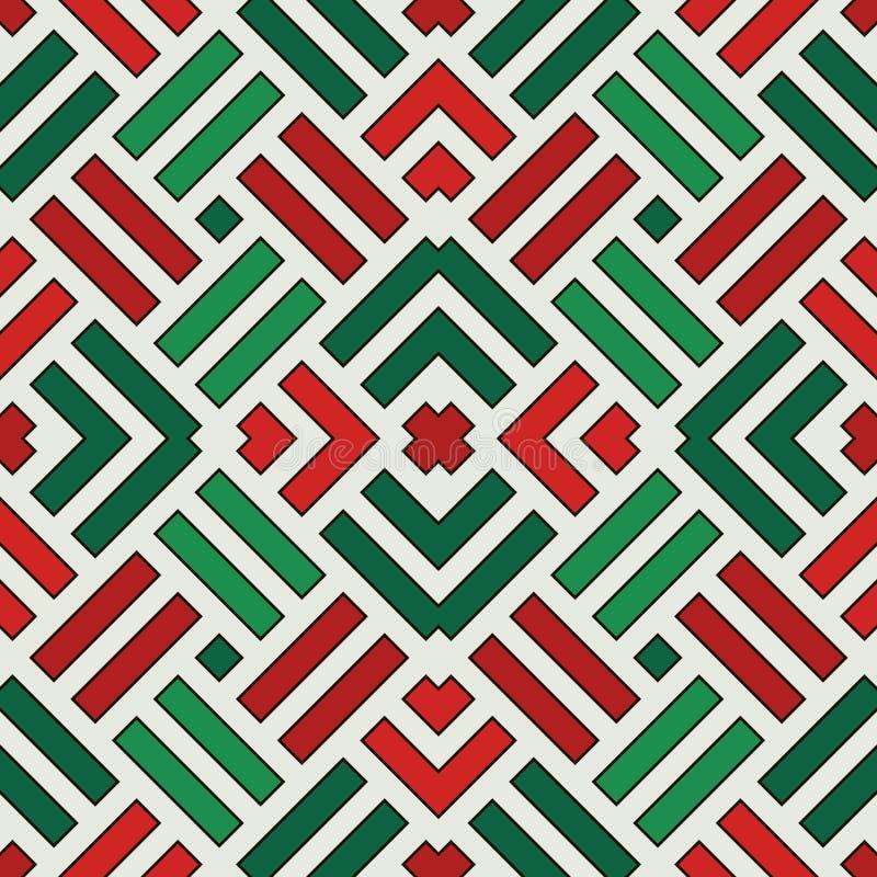 Configuration sans joint en osier Motif d'armure de panier Fond géométrique de couleurs traditionnelles de Noël avec les rayures  illustration de vecteur