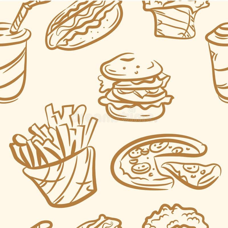 Configuration sans joint ensemble d'aliments de préparation rapide de griffonnage Vecteur illustration stock