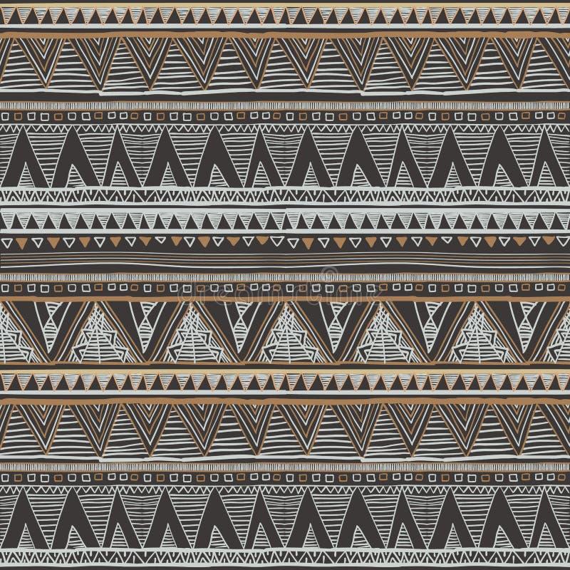 Configuration sans joint ethnique Copie tribale de boho d'art, ornement abstrait Texture de fond, décoration Gris sans couture et illustration de vecteur