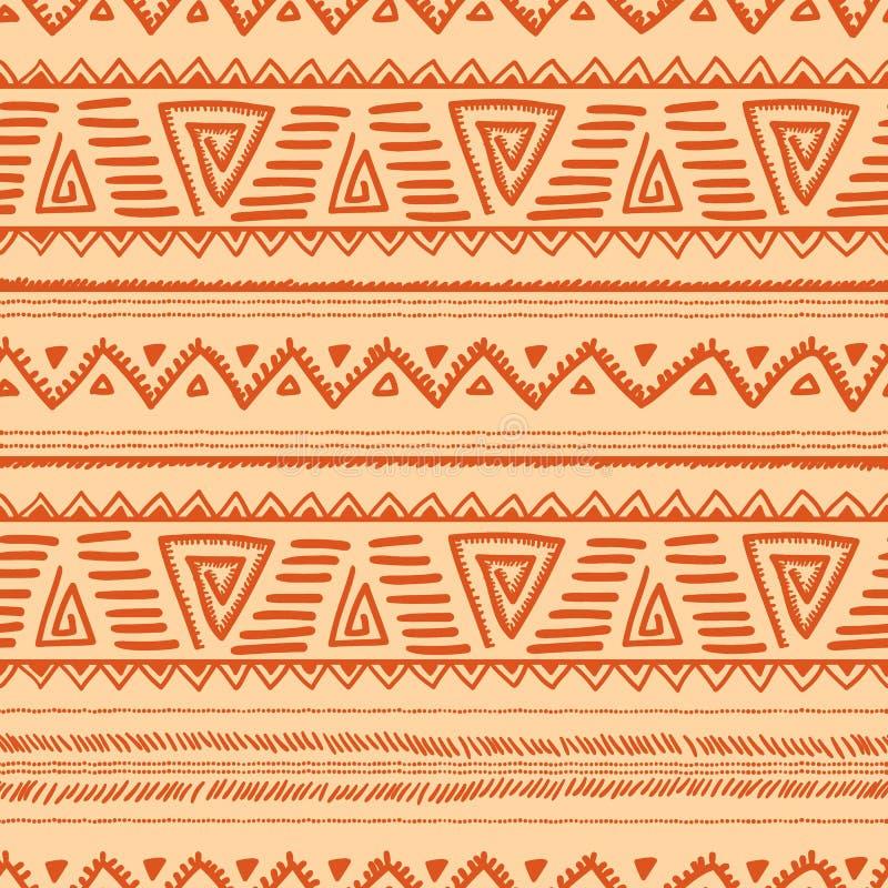 Configuration sans joint ethnique Motifs de Navajo et de tribal L'orange et soit illustration libre de droits
