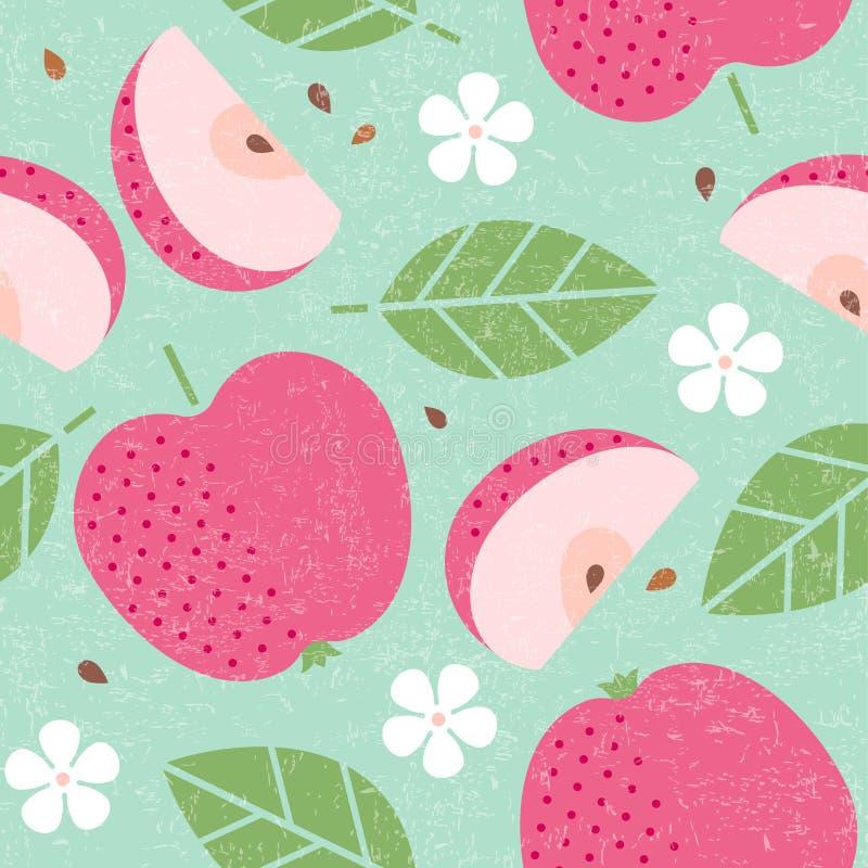 Configuration sans joint Feuilles et fleurs juteuses de fruits de pomme rouge sur le fond minable illustration libre de droits