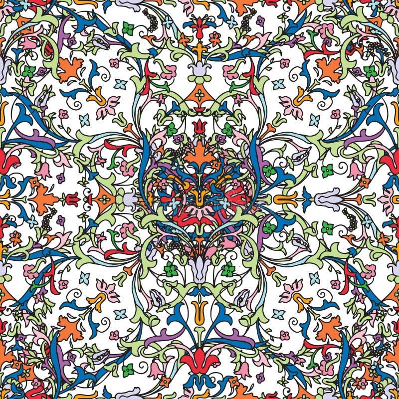Configuration sans joint Fleurs d'isolement r?alistes de floraison de beau rose Camomille Rose de tapisserie de fond de cru illustration stock