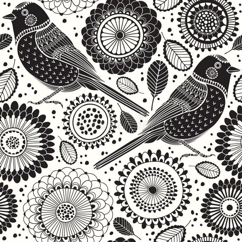 Configuration sans joint florale avec des oiseaux Illustration de conception de fond de dessin animé? avec l'espace du texte B illustration de vecteur