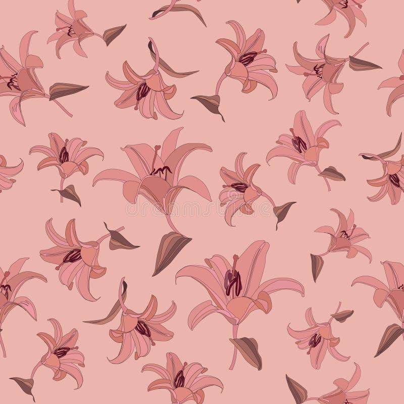 Configuration sans joint florale avec le lis doux de fleurs illustration libre de droits