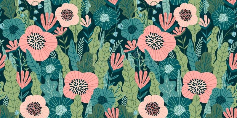 Configuration sans joint florale Conception de vecteur pour le papier, couverture, tissu, décor intérieur illustration stock