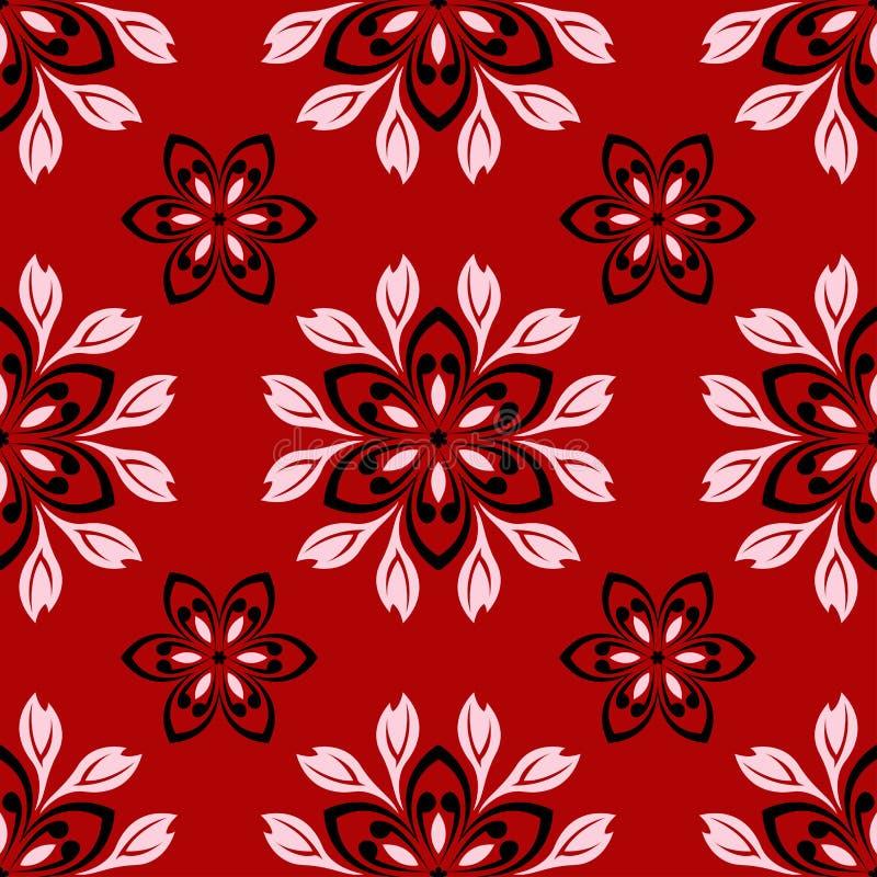 Configuration sans joint florale Conception noire et blanche sur le fond rouge illustration libre de droits