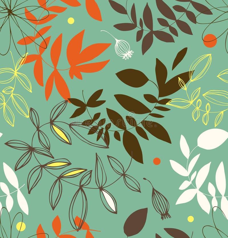 Configuration sans joint florale décorative Fond d'été de vecteur avec des feuilles et des branches illustration libre de droits