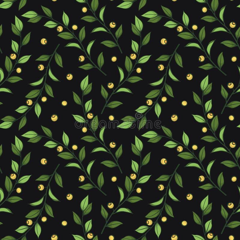 Configuration sans joint florale Dirigez les branches vertes avec des feuilles et des baies jaunes sur le fond noir illustration de vecteur