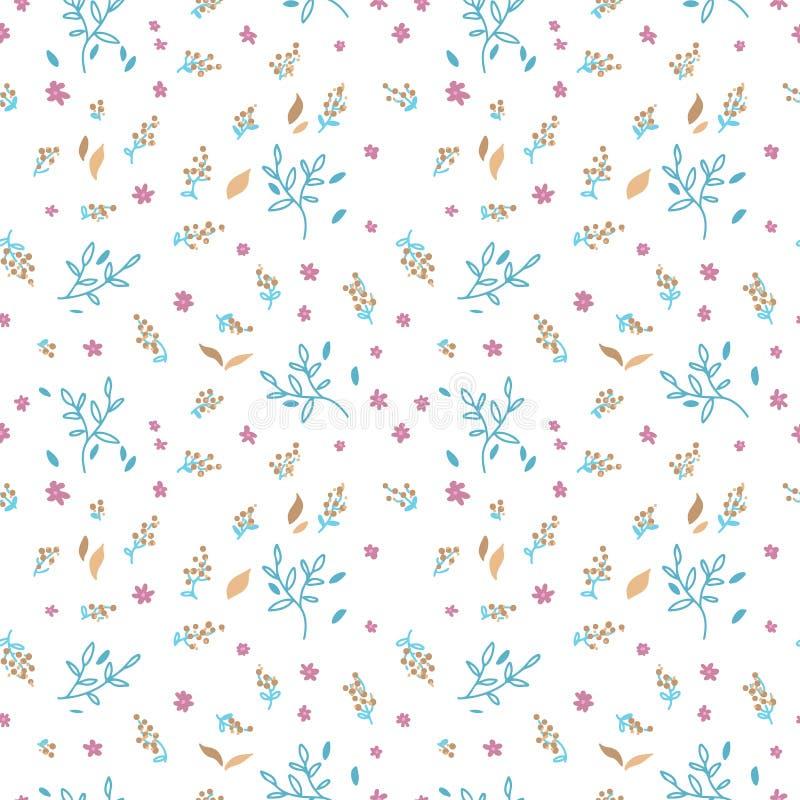 Configuration sans joint florale Feuilles de griffonnage, brances et fond tirés par la main de fleur Papier d'emballage de ressor illustration stock