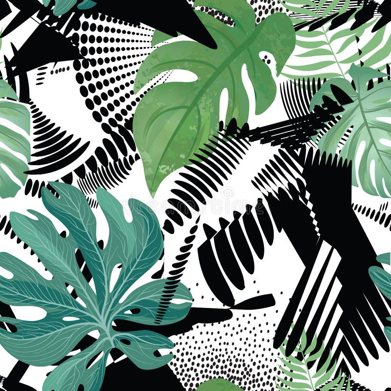 Configuration sans joint florale Feuilles tropicales au-dessus de fond de peinture abstrait d'art Papier peint de Flourish photographie stock