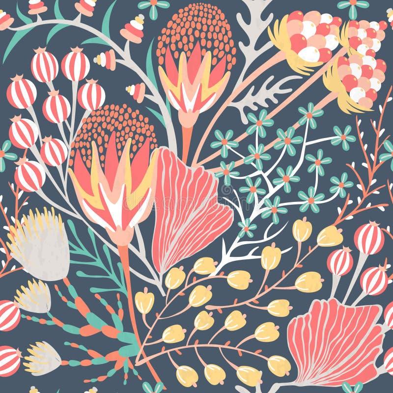 Configuration sans joint florale Fleur créative tirée par la main Fond artistique coloré avec la fleur Herbe abstraite illustration libre de droits