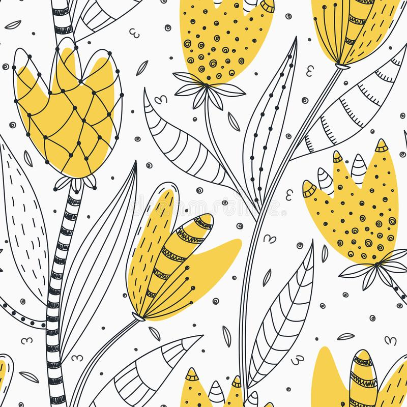 Configuration sans joint florale Fleurs abstraites créatives tirées par la main avec la décoration de griffonnage Conception arti illustration de vecteur