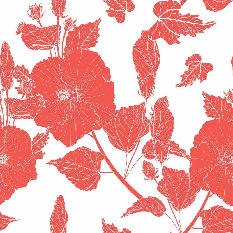 Configuration sans joint florale Fleurs de ketmie, bourgeons, diverses usines, feuillage, ligne branches rouges illustration de vecteur