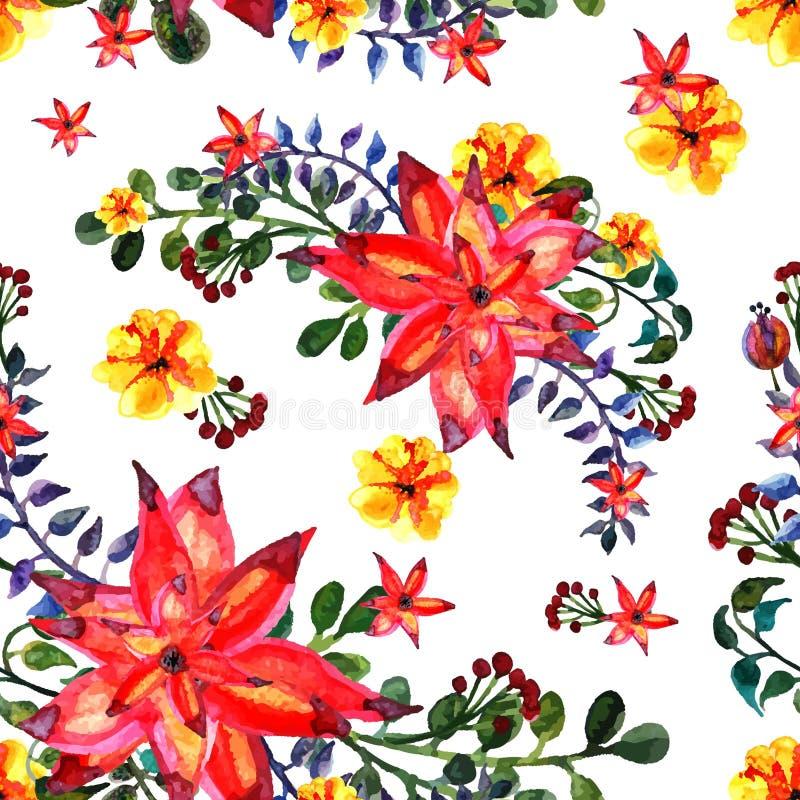 Configuration sans joint florale Fond blanc Texture avec des feuilles Le Flourish a couvert de tuiles le papier peint illustration libre de droits