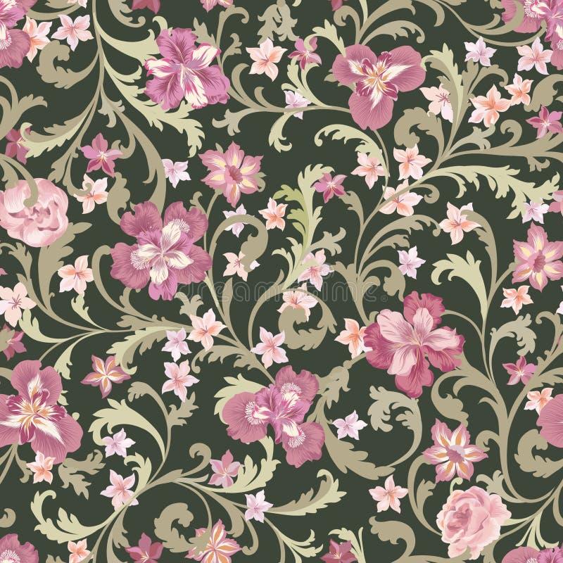 Configuration sans joint florale Fond de fleur Épanouissez-vous la nature GA illustration libre de droits