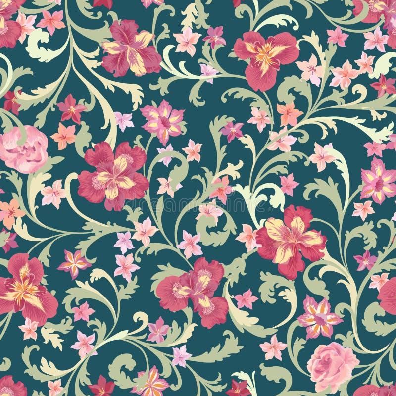 Configuration sans joint florale Fond de fleur Épanouissez-vous la nature GA illustration de vecteur