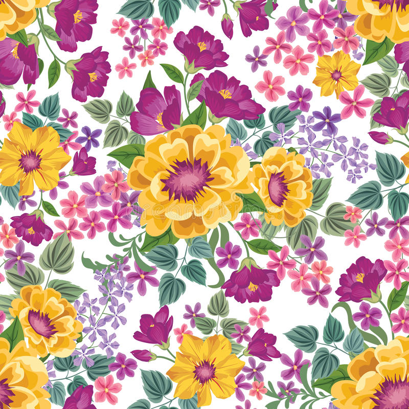 Configuration sans joint florale Fond de fleur Ressort floral t de tuile illustration stock