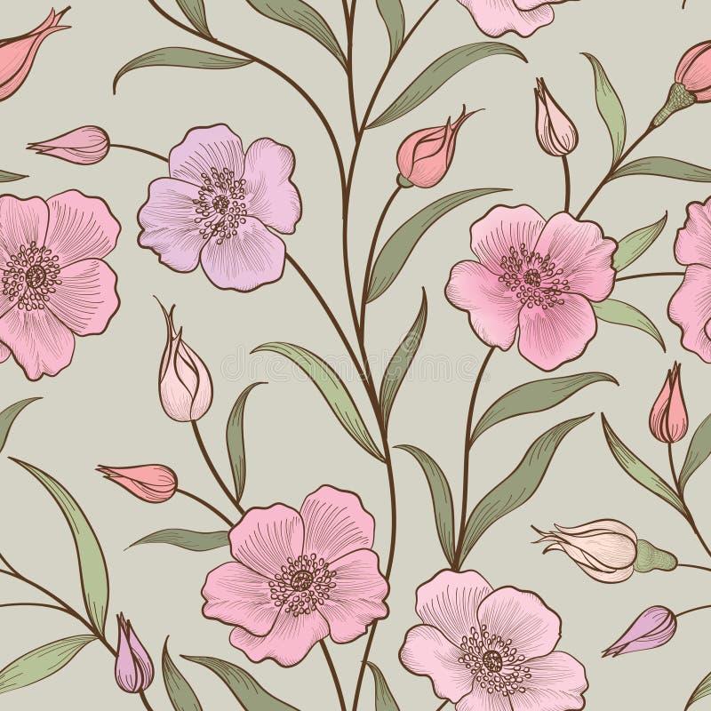 Configuration sans joint florale Fond de fleur Ressort floral t de tuile illustration de vecteur