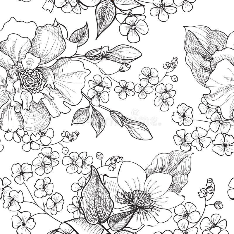 Configuration sans joint florale Fond de fleur Texte sans couture floral illustration stock
