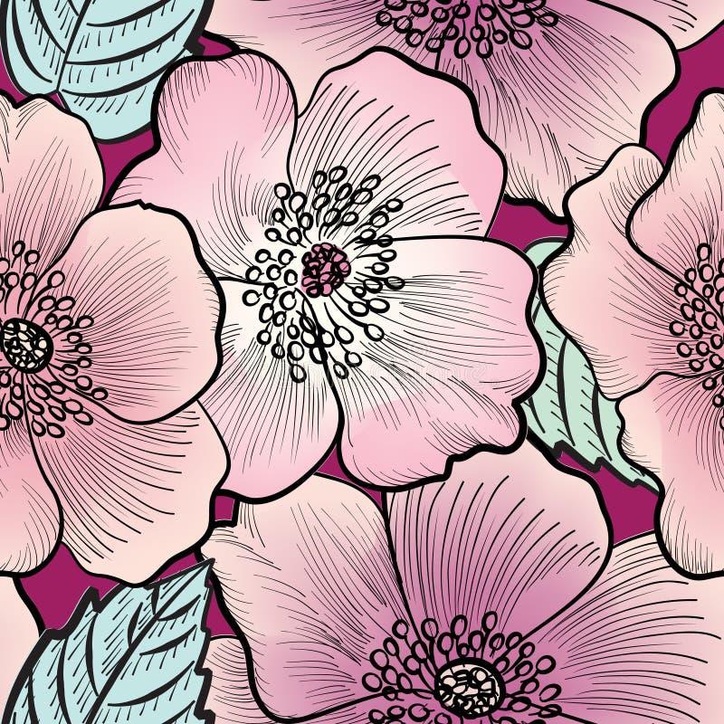 Configuration sans joint florale Fond de fleur Texture de Flourish illustration stock