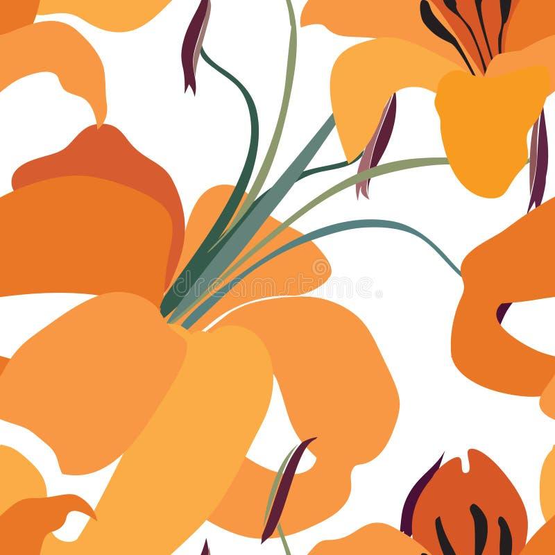 Configuration sans joint florale Fond de lis de fleur Tuile florale Orn illustration de vecteur