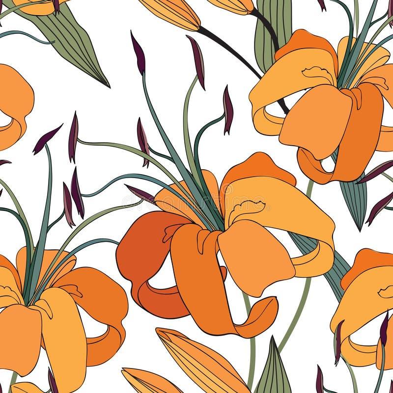 Configuration sans joint florale Fond de lis de fleur Tuile florale Orn illustration libre de droits