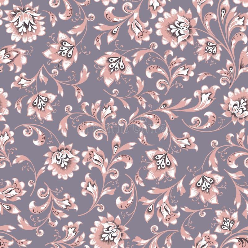 Configuration sans joint florale Fond de remous de fleur Le brocard ornemental easten la peinture illustration libre de droits