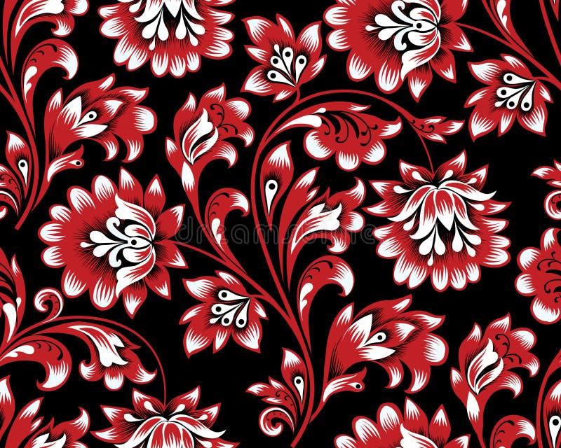 Configuration sans joint florale Fond de remous de fleur Rétro peinture de brocard ornemental illustration libre de droits